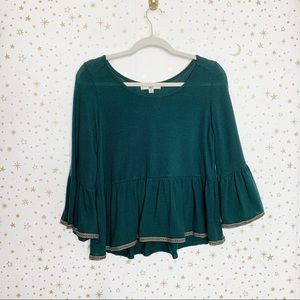 Forest Green Ruffle Peplum Cropped Blouse Top